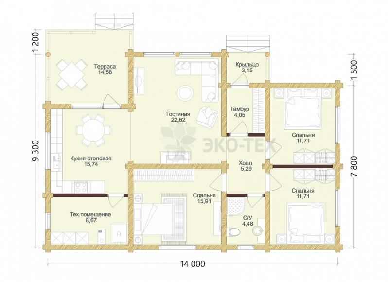 Проект дома Мурманск оцилиндрованное бревно планировка