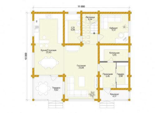 Проект дома Карелия оцилиндрованное бревно планировка