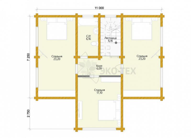 Проект дома Мюнхен клееный брус планировка