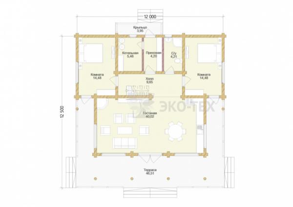 Проект дома Сосновый Бор оцилиндрованное бревно планировка