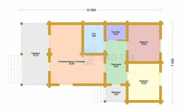 Проект дома Алабино оцилиндрованное бревно