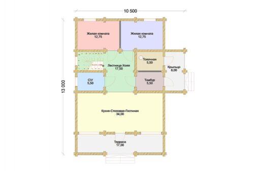Проект дома Дубрава Стандарт оцилиндрованное