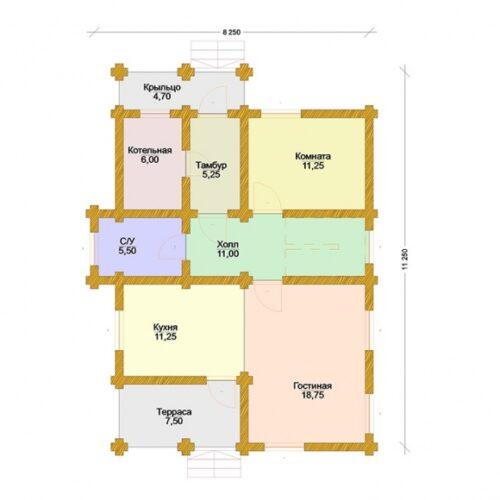 Проект дома Каштан оцилиндрованное