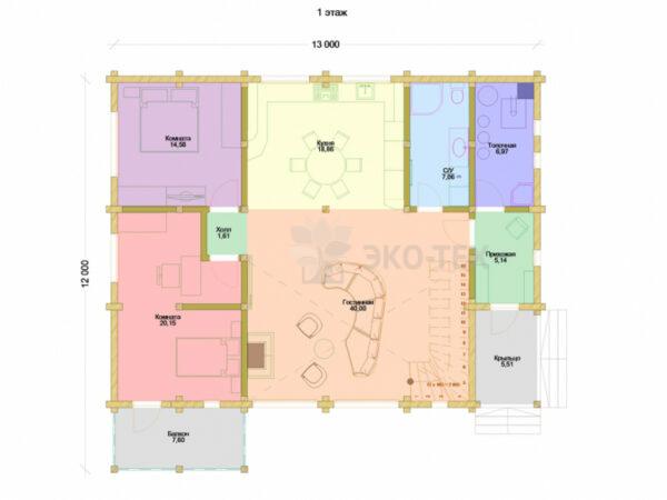 Проект дома Перформанс клееный брус