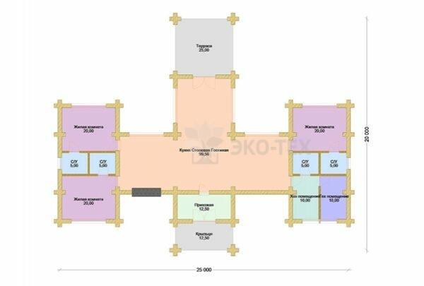 Проект дома Рокки оцилиндрованное бревно