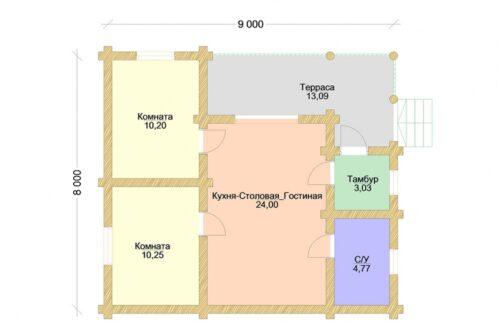 Проект дома Торжество оцилиндрованное бревно