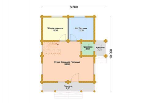 Проект дома Заречье Стандарт оцилиндрованное