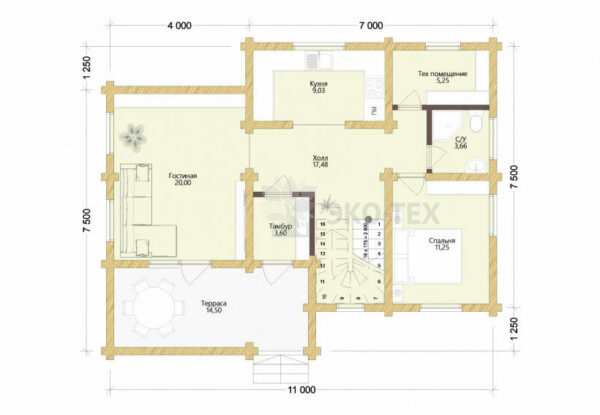 Проект дома Архангельск оцилиндрованное бревно планировка