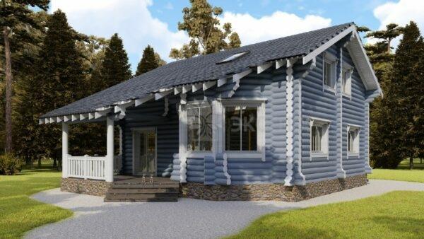 Проект дома Белая дача оцилиндрованное бревно