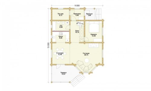 Проект дома Белая дача оцилиндрованное бревно планировка