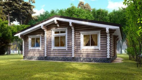 Проект дома Домик в Деревне оцилиндрованное бревно