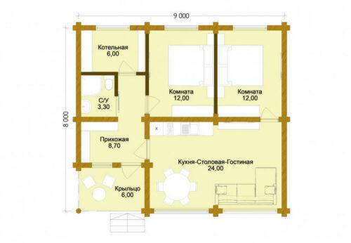 Проект дома Домик в Деревне оцилиндрованное бревно планировка