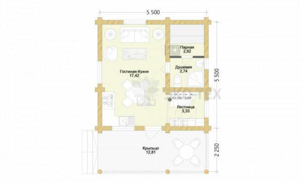 Проект дома Дубовая роща оцилиндрованное бревно