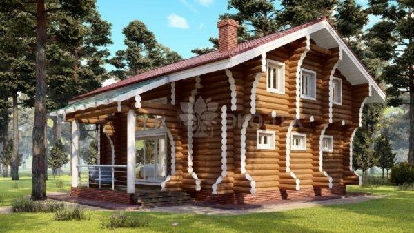 Проект дома Фьорд оцилиндрованное бревно