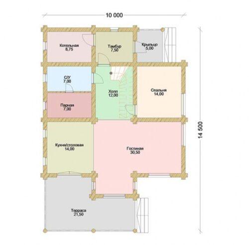 Проект дома Флинт оцилиндрованное бревно планировка