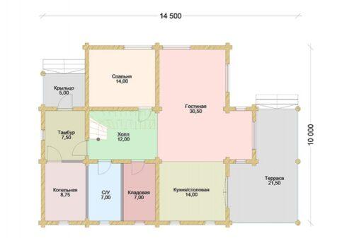 Проект дома Флинт Стандарт оцилиндрованное бревно планировка