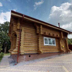 Фото дом из оцилиндрованного бревна по проекту фьорд