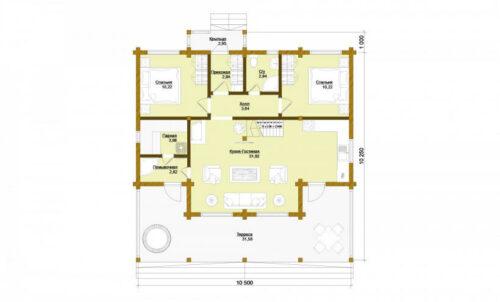 Проект дома Хельсинки клееный брус планировка