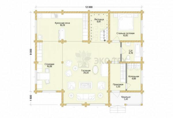 Проект дома Крым клееный брус планировка