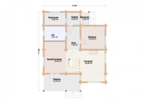 Проект дома Лесная сказка клееный брус