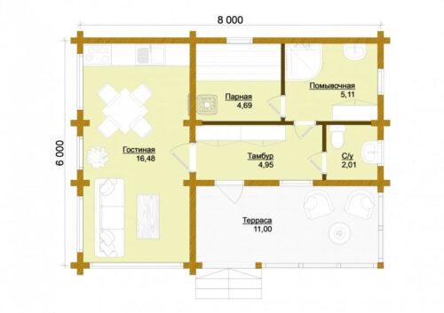 Проект дома Обнинск клееный брус