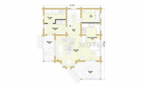 Проект дома Одинцово оцилиндрованное бревно планировка