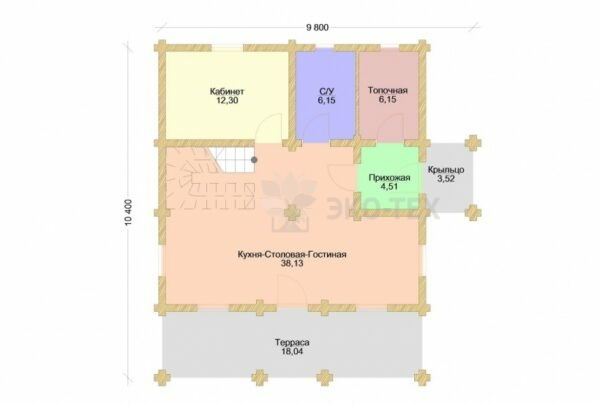 Проект дома Подмосковная сказка-1 оцилиндрованное бревно
