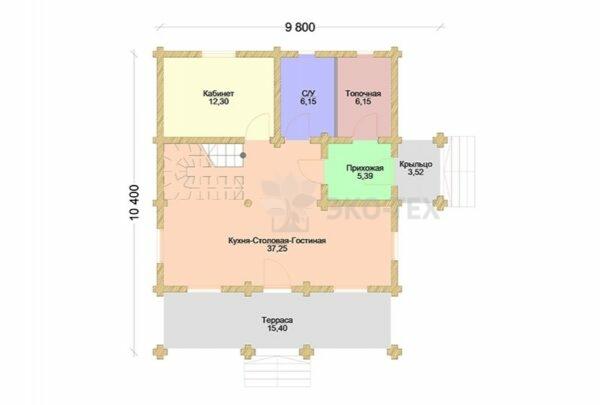 Проект дома ПСК-1 Стандарт оцилиндрованное бревно планировка