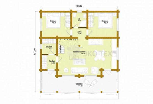 Проект дома Пушкино оцилиндрованное бревно планировка