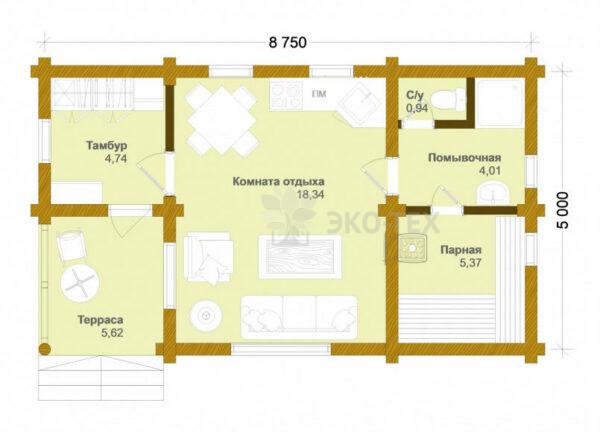 Проект дома Румянцево оцилиндрованное бревно