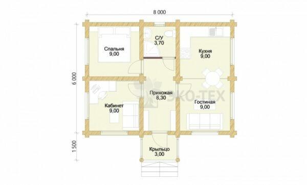 Проект дома Садовый оцилиндрованное бревно планировка