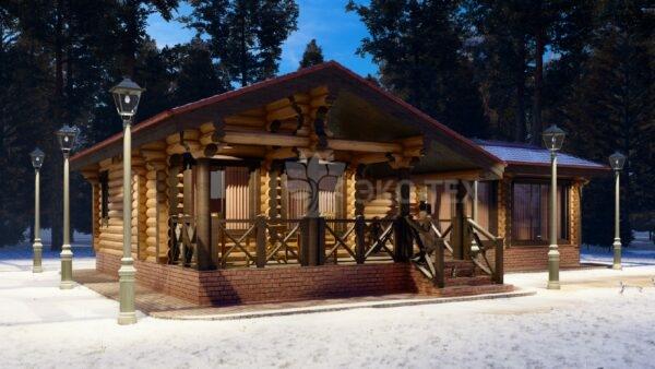 Проект бани Шишкин лес оцилиндрованное бревно
