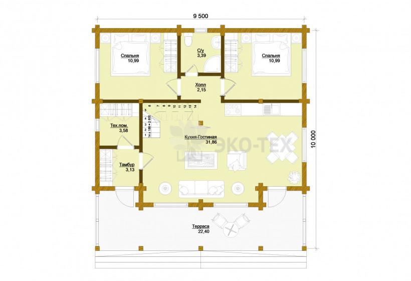 Проект дома Синдика клееный брус планировка
