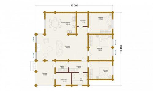 Проект дома Сокол оцилиндрованное бревно планировка