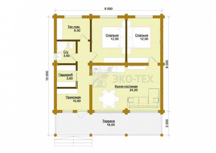Проект дома Солнечногорск оцилиндрованное бревно планировка