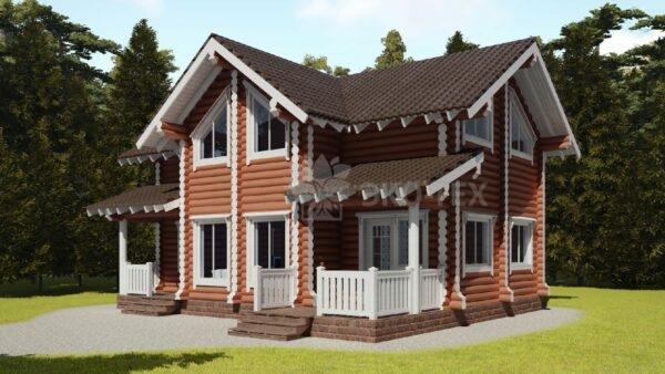 Проект дома Солнцево оцилиндрованное бревно
