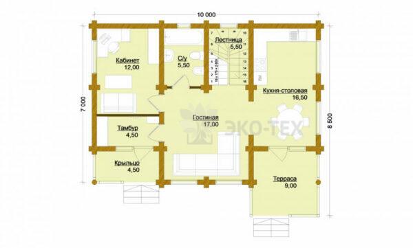 Проект дома Солнцево оцилиндрованное бревно планировка