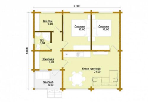 Проект дома Суздаль клееный брус планировка