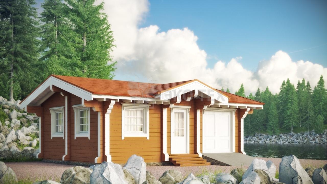 дома из бруса одноэтажные фото с гаражом