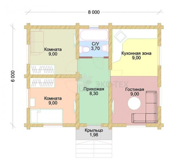 Проект дома Тройка клееный брус