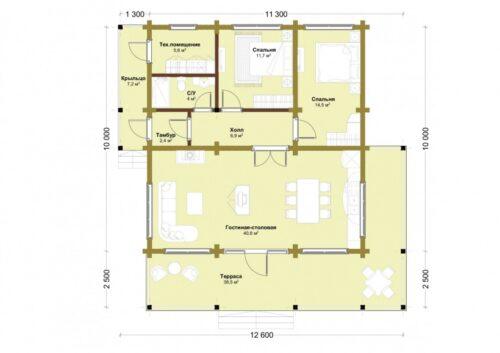 Проект дома Турин клееный брус планировка