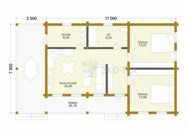 Проект дома Вельс клееный брус планировка
