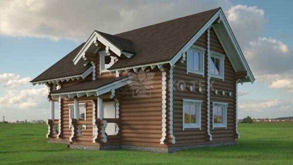 Проект дома Заречье оцилиндрованное бревно