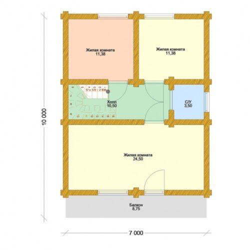 Проект дома Заречье оцилиндрованное бревно планировка