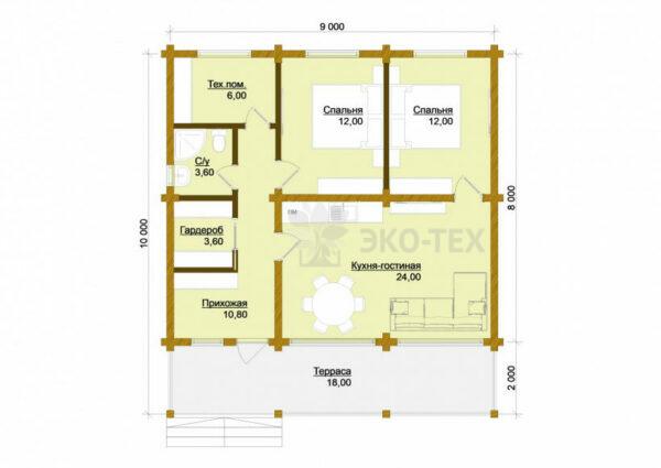 Проект дома Зеленоград клееный брус планировка