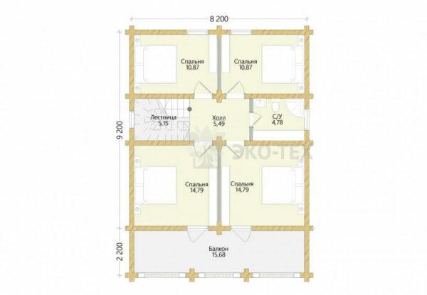 Проект дома Звенигород оцилиндрованное бревно планировка