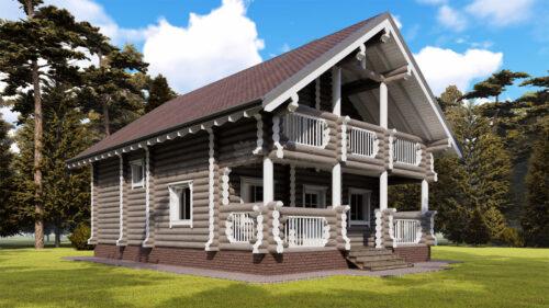 Проект дома Звенигород оцилиндрованное бревно