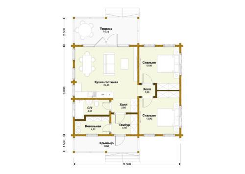 Проект дома Первомайск клееный брус